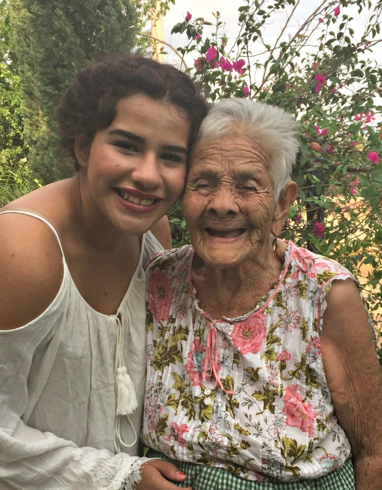 Jazmin Regalado, who will be entering her senior year of high school in New Mexico, pictured with her grandmother, Belen Hernandez.
