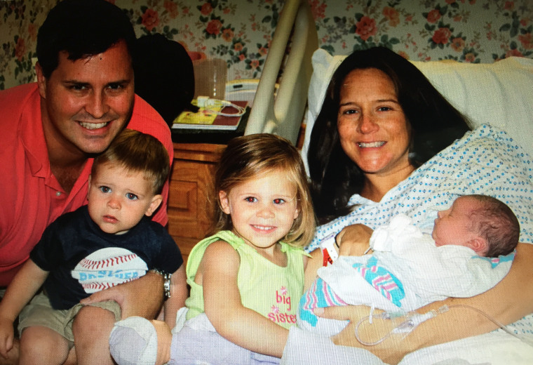Katie Rich poses with husband Will and their three children, Quint, Madeline, and newborn, Brady in August 2012. She was diagnosed with colon cancer 8 weeks later.