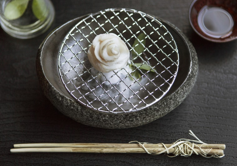 Black cod sashimi from n/naka in Los Angeles.