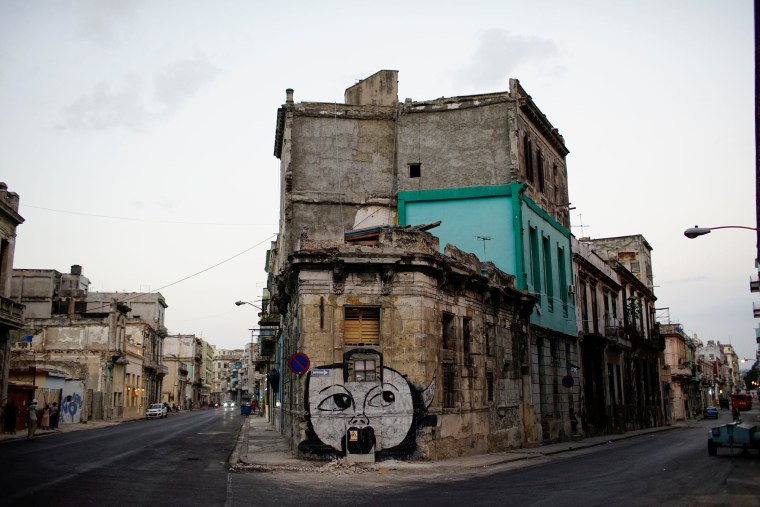 Image: A view of a graffiti by Cuban Artist Yulier Rodriguez in Havana, Cuba