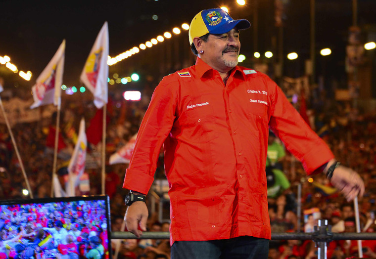 Image: Diego Maradona takes part in the closing rally of the electoral campaign of Nicolas Maduro