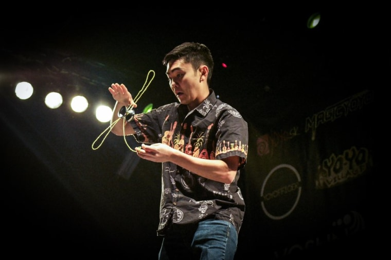 "Evan Nagao at the 2017 European YoYoContest in Bratislava, Slovakia. He placed first in his division after a routine set to Lynyrd Skynyrd's ""Freebird."""
