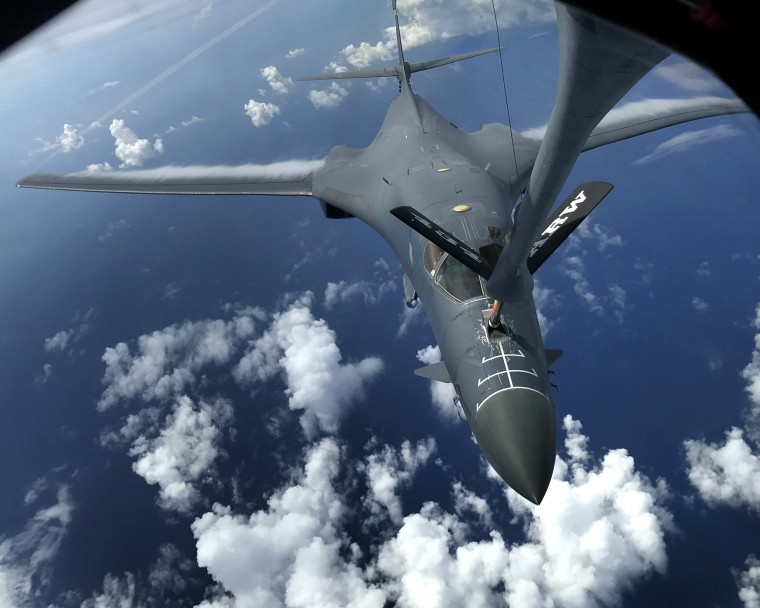 Image: US Air Force B-1B Lancers fly in the East China Sea in the vicinity of Kyushu, Japan