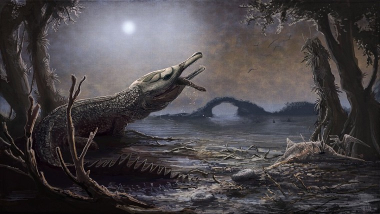 Image: An artists rendering of a Lemmysuchus