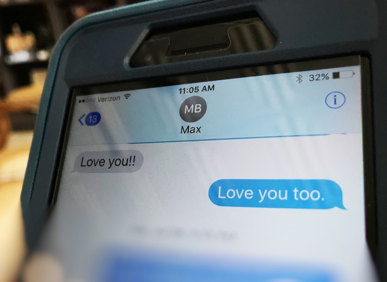 Image: Max Barry's last text to his mother