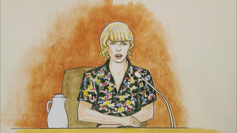 Image: Taylor Swift testifies in court in Denver on Aug. 10