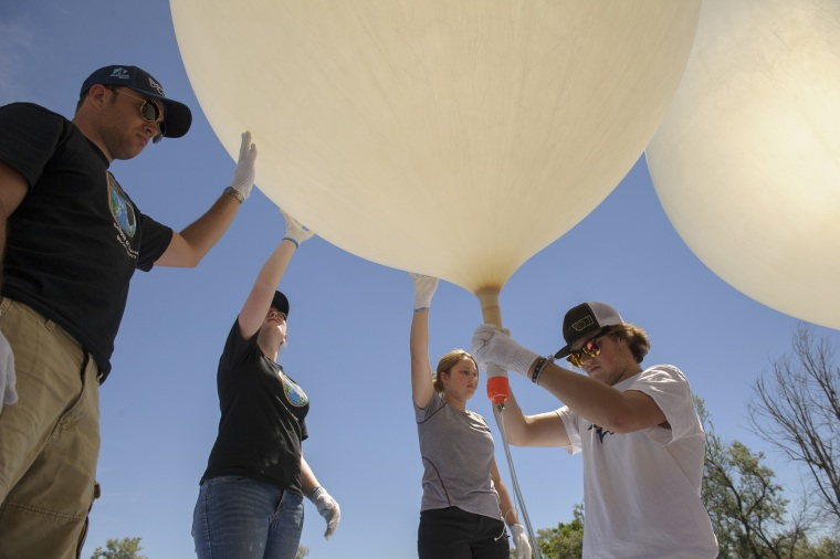 Montana State University students conduct test launch for Eclipse Ballooning Project.