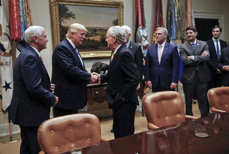 Image: Donald Trump, Mitch McConnell, Paul Ryan, John Cornyn, Kevin McCarthy, Jared Kushner, Mike Pence