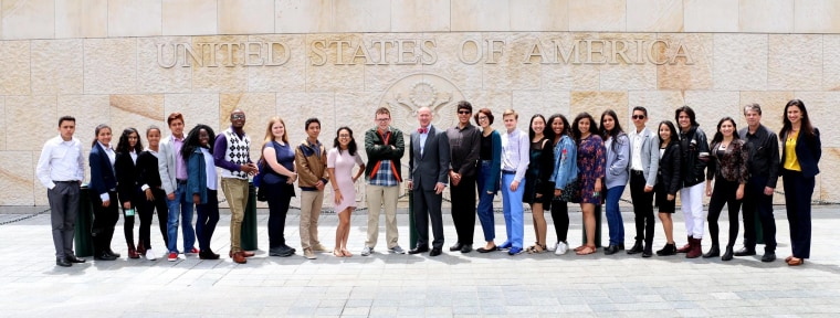 Participants of the Partners of the Americas Youth Ambassadors Program in front of the U.S. embassy in Bogotá, Colombia. July 2017