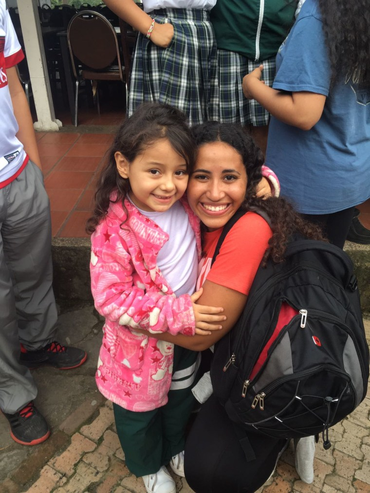 Youth Ambassador Olivia Martinez with 5-year-old Sara at the Fundacion Formemos education center in Cundinamarca, Colombia, July 2017.