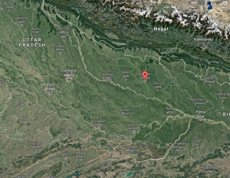 Image: Map shows location of Gorakhpur