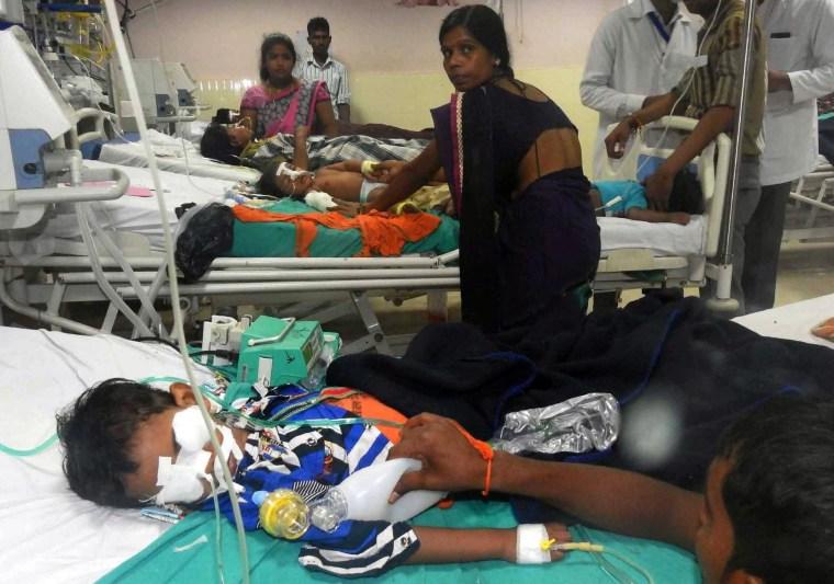 Image: Children undergo treatment at the Baba Raghav Das Hospital