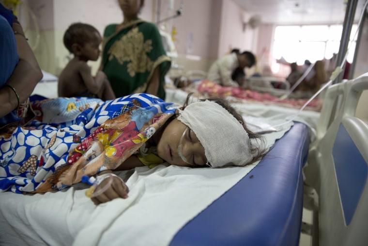 Image: Children receive treatment at the state-run Baba Raghav Das Medical College Hospital where 35 children died in three days in Gorakhpur, Uttar Pradesh, India, Aug. 13, 2017.