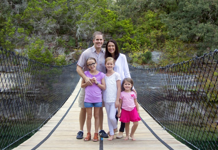 Brooke Shannon, here with husband Michael and daughters Grace, Mercy, and Bella, created the Wait Until 8th pledge in an effort to support families who want to hold off giving their children smartphones until they are ready to go to high school.