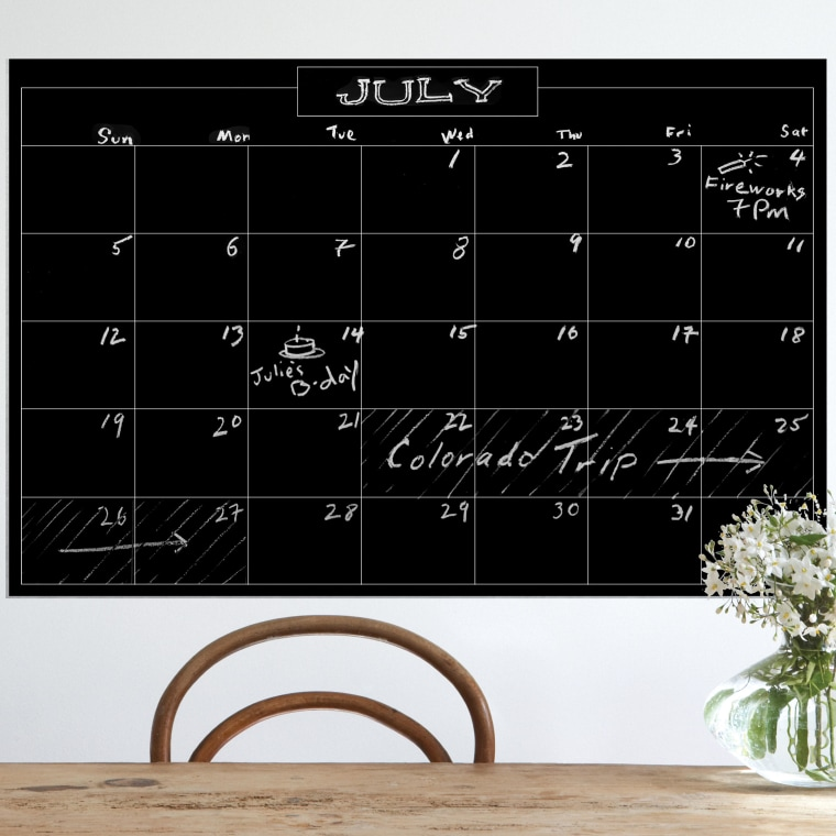 Monthly chalkboard calendar
