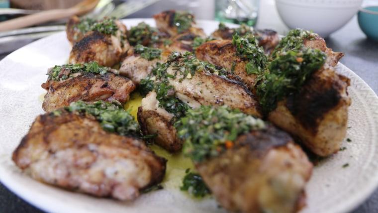 Chicken Under a Brick with Salsa Verde
