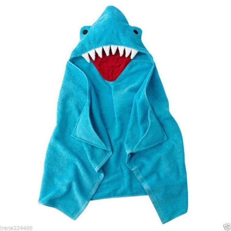 Shark hood beach towel