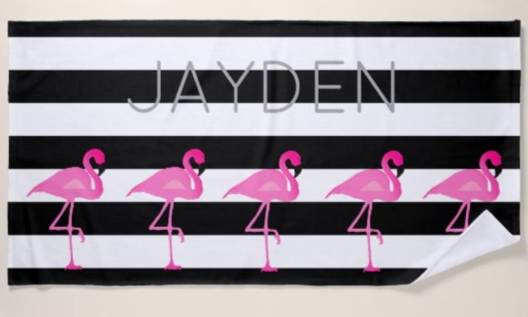 Flamingo beach towel personalized with name