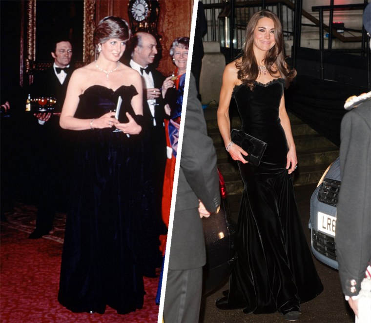 Princess Diana wore Elizabeth and David Emmanuel to a fundraiser at the Royal Opera House in 1981. Duchess Kate wore an Alexander McQueen gown at the Night of Heroes awards show at London's Imperial War Museum in December 2011. Both black gown were made by the same designers who created their wedding dresses.