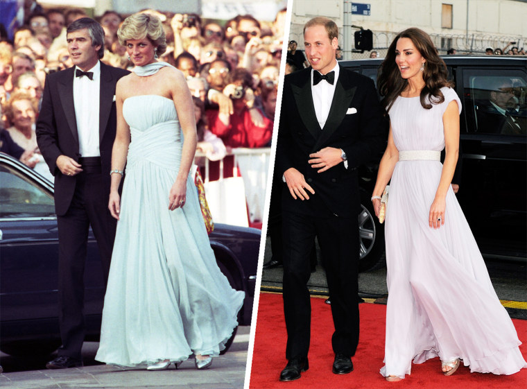 Princess Diana wears a strapless chiffon dress by Catherine Walker in 1987 for the Cannes Film Festival (and again for the 1989 London opening of Miss Saigon!). Prince William and Kate, the Duke and Duchess of Cambridge, arrive at the inaugural BAFTA Brits to Watch 2011 event at the Belasco Theater in Los Angeles, Saturday, July 9, 2011. Kate wore a pale lavender Alexander McQueen gown.