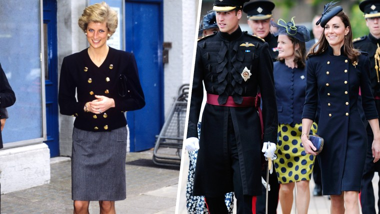Princess Diana wears a double-breasted navy suit at the Royal Academy of Dramatic Arts, London on Nov. 1989. Prince William, Duke of Cambridge and  Catherine, Duchess of Cambridge visits Victoria Barracks during a medal parade for the 1st Battalion Irish Guards Regiment on June 25, 2011, in Windsor. She wore an Alexander McQueen coat.