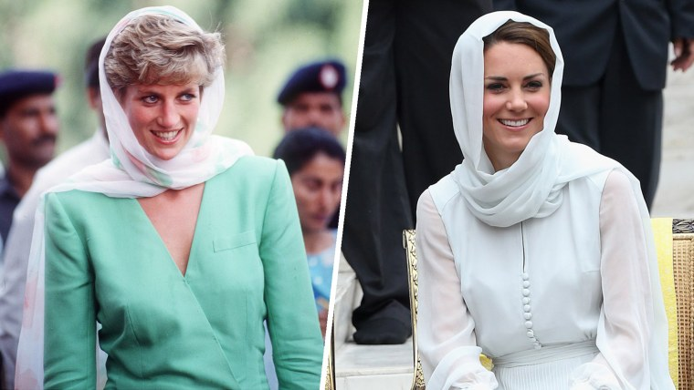 Princess Diana on a visit to Pakistan covers her head on September 25, 1991. Catherine, Duchess of Cambridge visits Assyakirin Mosque on September 14, 2012 in Kuala Lumpur, Malaysia.