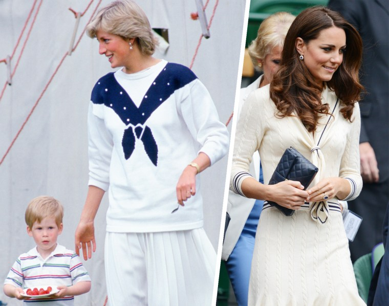 Diana, Princess of Wales with Prince Harry wears a nautical themed sweater by designer Roland Klein and a white pleated skirt by Jasper Conran. The Duchess of Cambridge also chose a sailor-inspired white Alexander McQueen dress in 2012 when she attended Wimbledon.