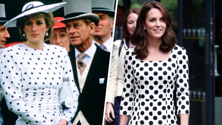 Diana, Princess Of Wales With Prince Philip On Derby Day.  Princess Diana Is Wearing A Polka Dot Day Dress Designed By Fashion Designer Victor Edelstein on June 4, 1986. Britain's Catherine, the Duchess of Cambridge, at the Wimbledon Championships at The All England Lawn Tennis and Croquet Club, Wimbledon, London, on July 3, 2017.