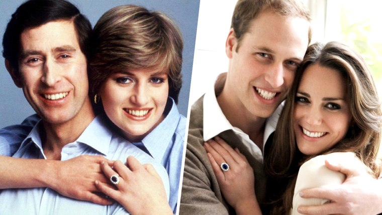 Prince Charles and Princess Diana embrace for an informal portrait on their wedding day in this July 29, 1981. Britain's Prince William and Kate Middleton pose in one of two official engagement portraits in the Cornwall Room at St James's Palace in London on November 25, 2010.