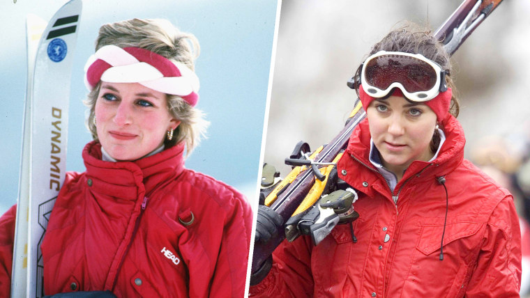 Princess Diana, Princess of Wales, wearing red ski gear and a red and white head band, enjoys a skiing holiday in Klosters, Switzerland in February 1986. Kate Middleton Skiing In Klosters, Switzerland in 2005.