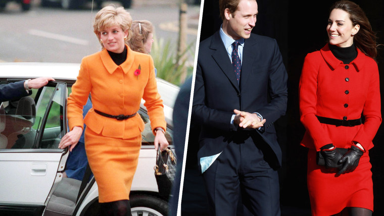 Princess Diana arrives to open the Liverpool Women's Hospital in 1995. Prince William and Kate Middleton smile as they visit the University of St Andrews on February 25, 2011 in St Andrews, Scotland.  The Duchess of Cambridge wore a vibrant red skirt suit by Luisa Spagnoli, Diana wore a orange Versace suit.