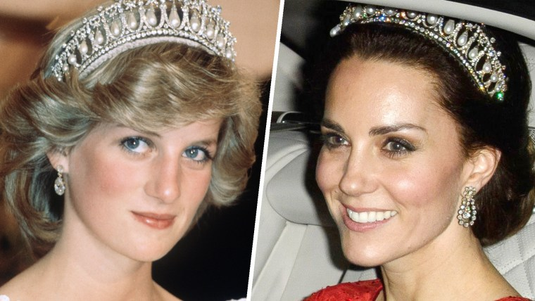 Catherine Duchess of Cambridge at a diplomatic dinner at Buckingham Palace, London on Dec 8, 2016.Diana, Princess of Wales wears the Cambridge Lover's Knot tiara (Queen Mary's Tiara) and diamond earrings during a banquet on April 29, 1983 in Aukland, New Zealand.   Catherine, Duchess of Cambridge wore the same tiara at a diplomatic reception at  Buckingham Palace in December 2015.