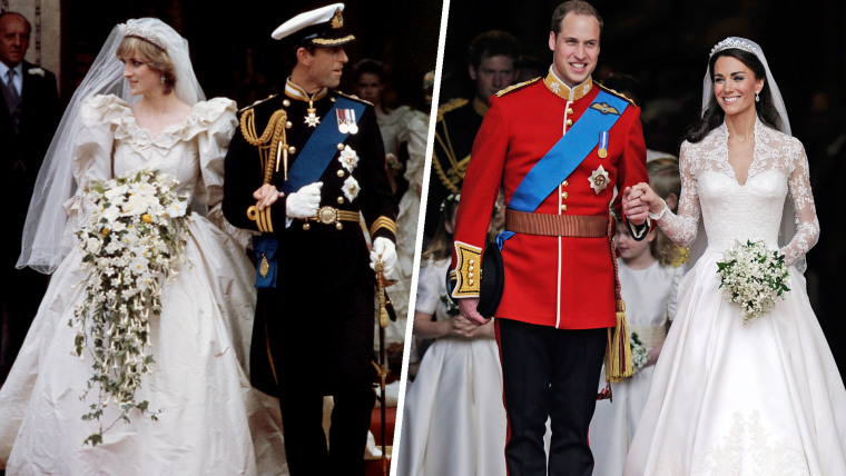 Royal Wedding cathedral departure images of Prince Charles, Prince of Wales and Lady Diana Spencer and that of Prince William with Catherine, Duchess of Cambridge. The wedding of Prince Charles and Lady Diana Spencer at St Paul's Cathedral in London, 29th July 1981. The couple leave the cathedral after the ceremony. TRH Prince William, Duke of Cambridge and Catherine, Duchess of Cambridge smile following their marriage at Westminster Abbey on April 29, 2011 in London, England.