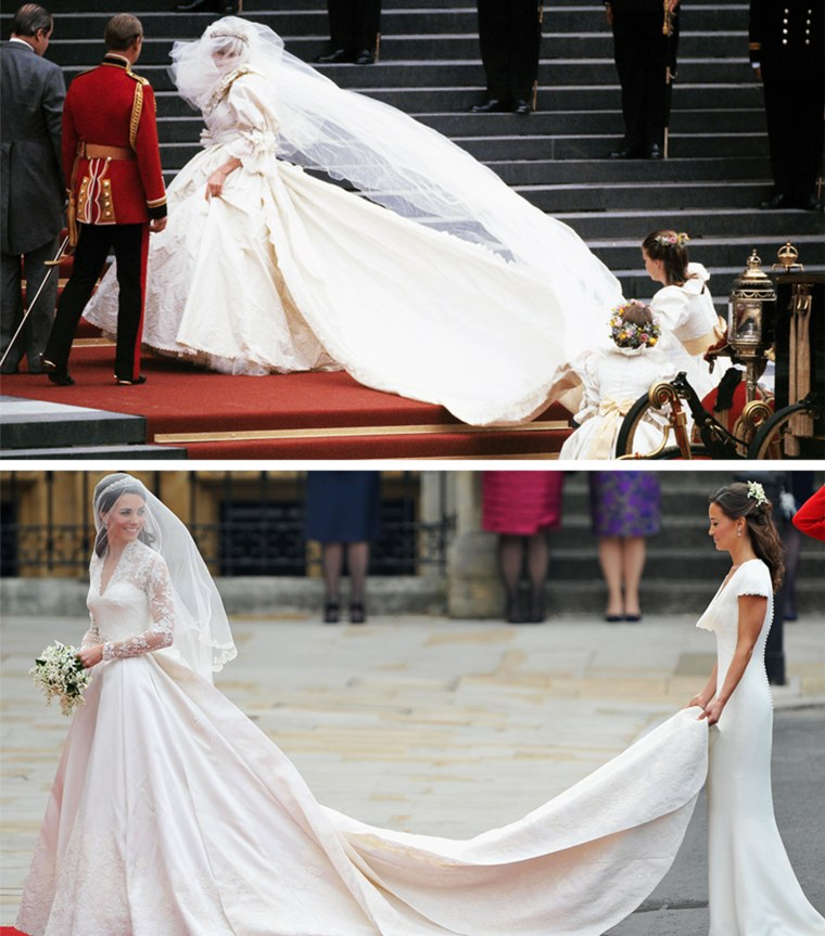 Diana on her Wedding Day on July 29, 1981. She wore a David and Elizabeth Emanuell ivory silk taffeta and antique lace gown, with a 25-foot train. Catherine Middleton waves to the crowds as her sister and Maid of Honour Pippa Middleton holds her dress before walking in to the Abbey to attend the Royal Wedding of Prince William to Catherine Middleton at Westminster Abbey on April 29, 2011 in London, England. English designer Sarah Burton, creative director of the luxury fashion house Alexander McQueen, designed the bridal gown.