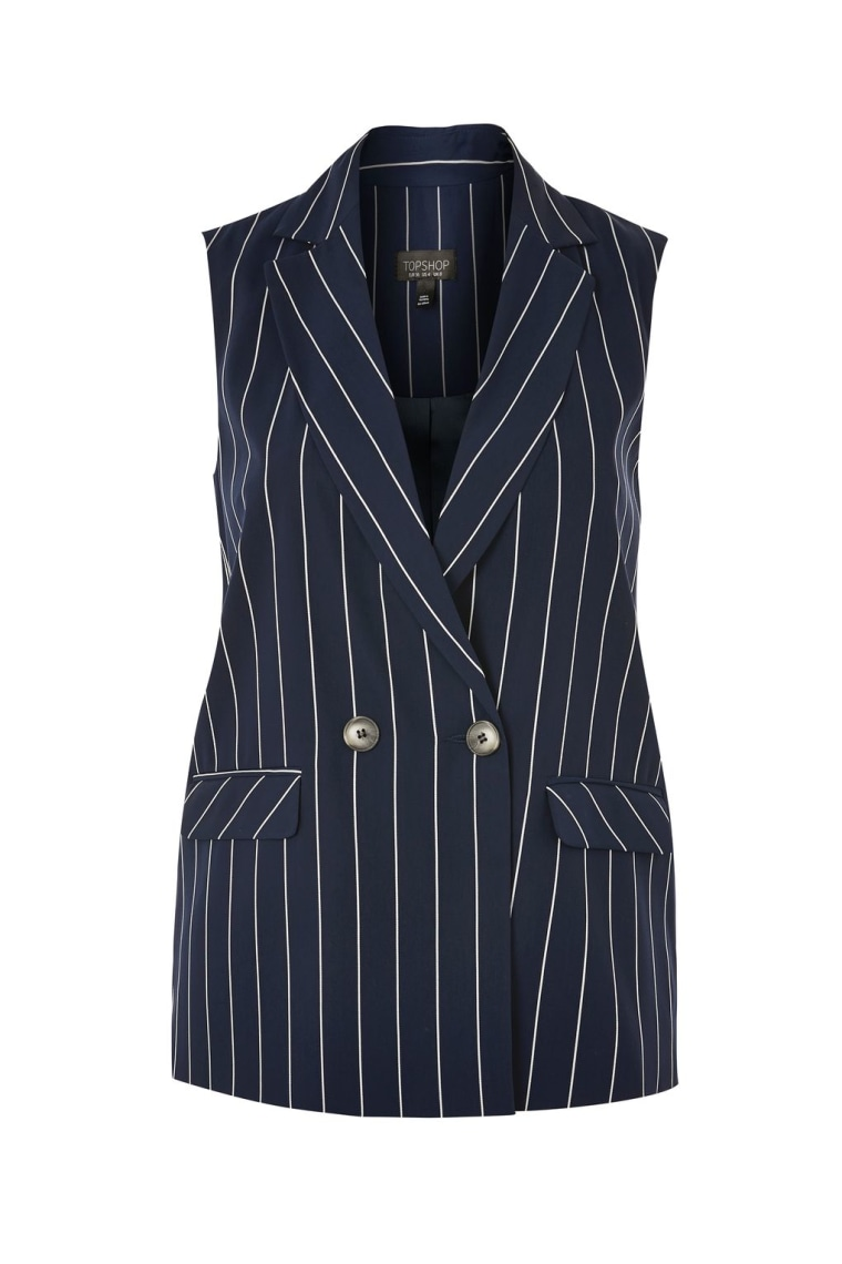 Striped Sleeveless Jacket