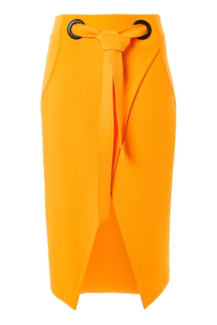 Eyelet Wrap Midi Skirt