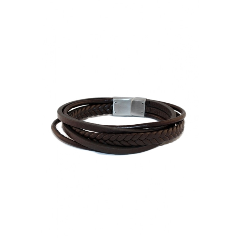 Brown Leather Men's Bracelet