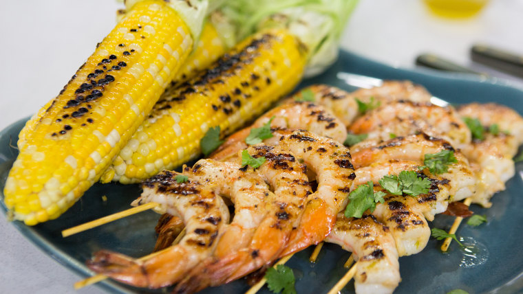 Al Roker's Grilled Shrimp Skewers with Corn on the Cob