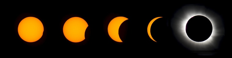 Image: A combination photo shows the different phases of the total solar eclipse as it occurred over Longyearbyen on Svalbard