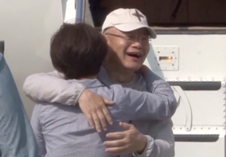 Image: Rev. Hyeon Soo Lim who was imprisoned in North Korea for more than two years is seen reuniting with his wife Keum Young Lim as he returned to Canada