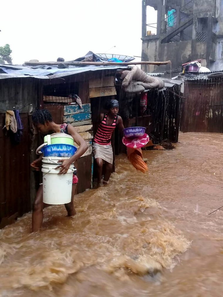 Image: This picture shows flooded streets in Regent near Freetown, on Aug. 14, 2017.