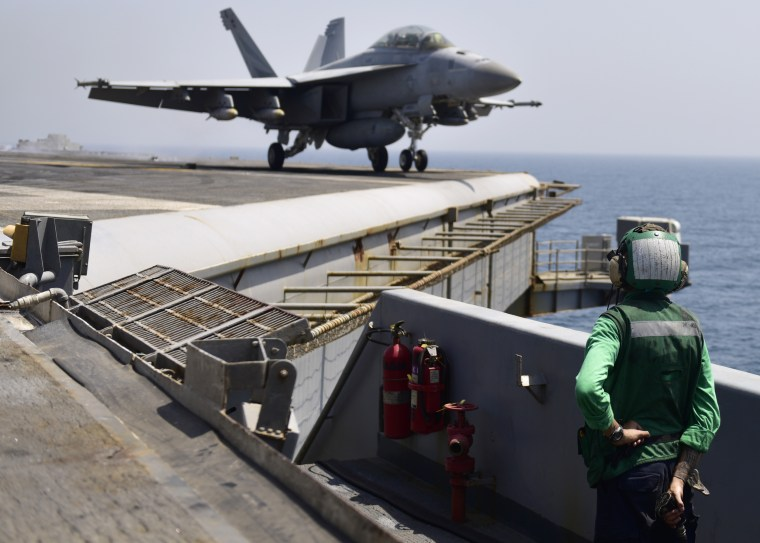 Image: Aboard the aircraft carrier USS Nimitz in the Arabian Gulf