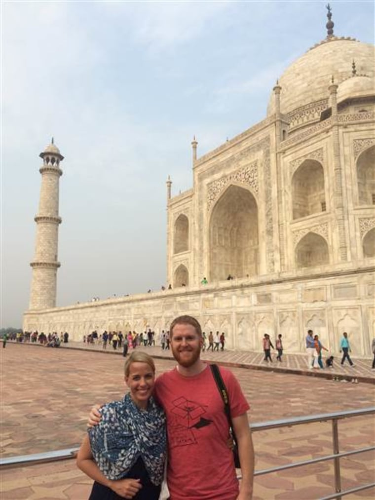Though our lives aren't as glamorous as they seem to outsiders, we love to travel. Here we are at the Taj Mahal.