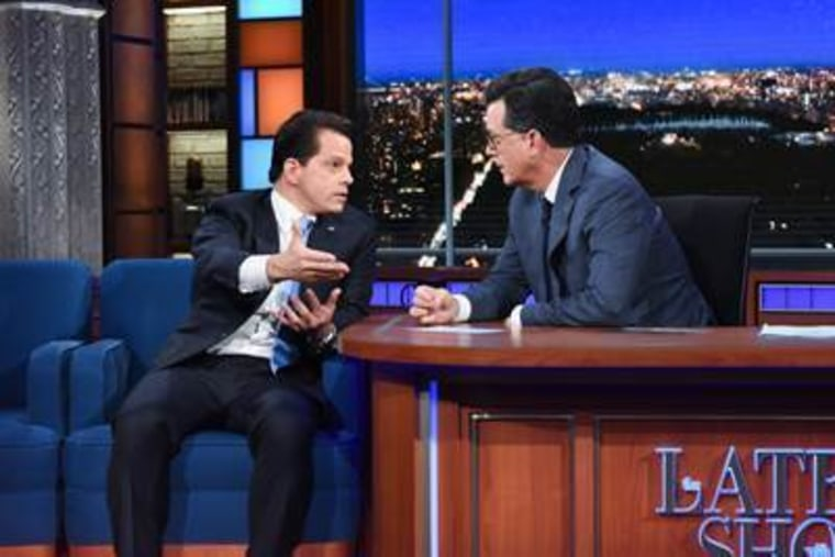 """Anthony Scaramucci, left, appears on CBS' """"Late Show"""" with Stephen Colbert, Monday, Aug. 14, 2017, in New York."""