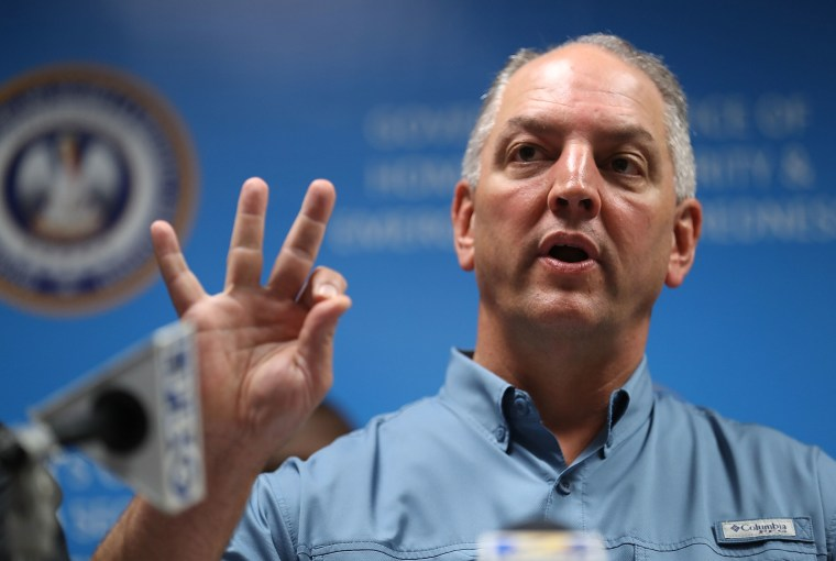 Image: Louisiana Governor John Bel Edwards speaks during a press conference