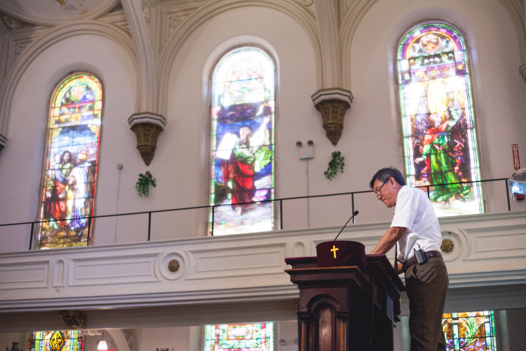 Rev. Leonid Kim delivers a sermon in Russian at the All Nations Baptist Church in Brooklyn, New York.