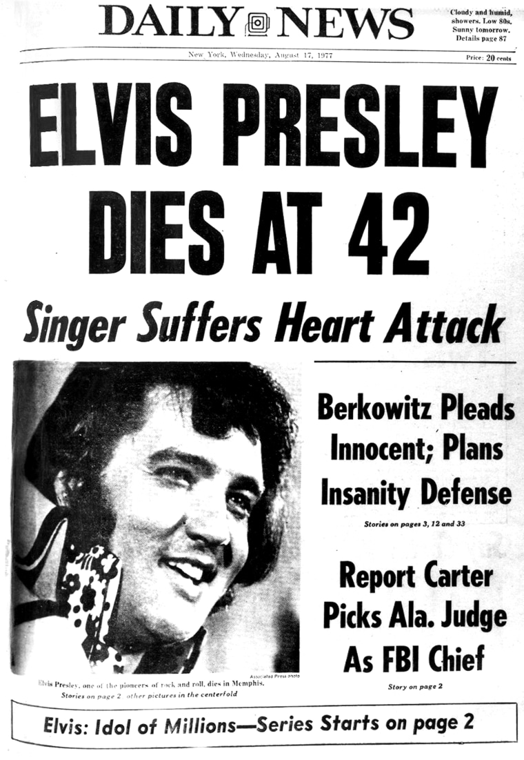 Front page of the Daily News dated Aug. 17, 1977 , Headline: