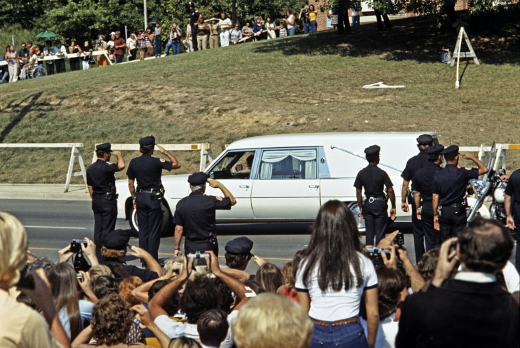 Elvis Presley funeral cortege leaving Graceland, Memphis, Tennessee, USA, August 18th 1977