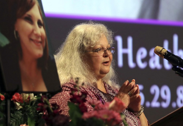 Image: Susan Bro, mother to Heather Heyer, speaks during a memorial for her daughter