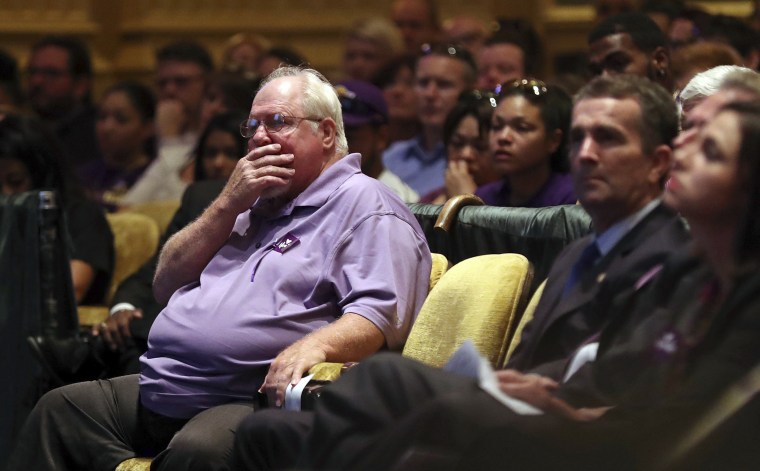 Image: Mark Heyer, the father of Heather Heyer, gets emotional during a memorial service for his daughter
